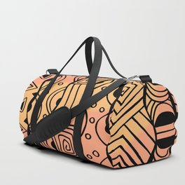Wavy Tribal Lines with Shapes - Orange - Doodle Drawing Duffle Bag