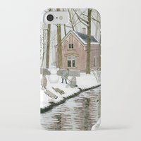 toddler iPhone & iPod Cases featuring Children Building A Snowman by Yuliya