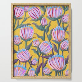 Bold Protea Flower Pattern - Pink Blue Green Purple Yellow Serving Tray