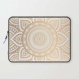 Gold Mandala Pattern Illustration With White Shimmer Laptop Sleeve