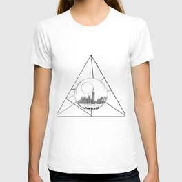 Graphic . geometric shape gray London in a bottle T-shirt