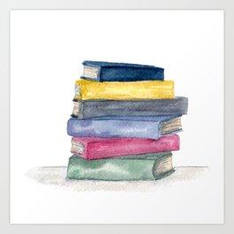 Stack of Books | Watercolor | Art Art Print