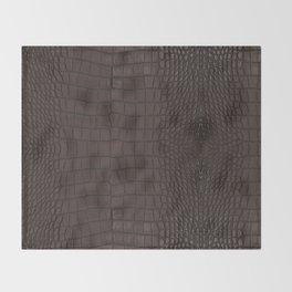Alligator Brown Leather Print Throw Blanket