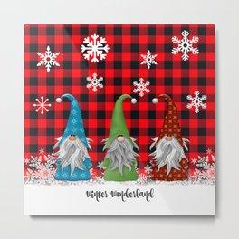 Christmas Gnome Lumberjack Plaid Metal Print
