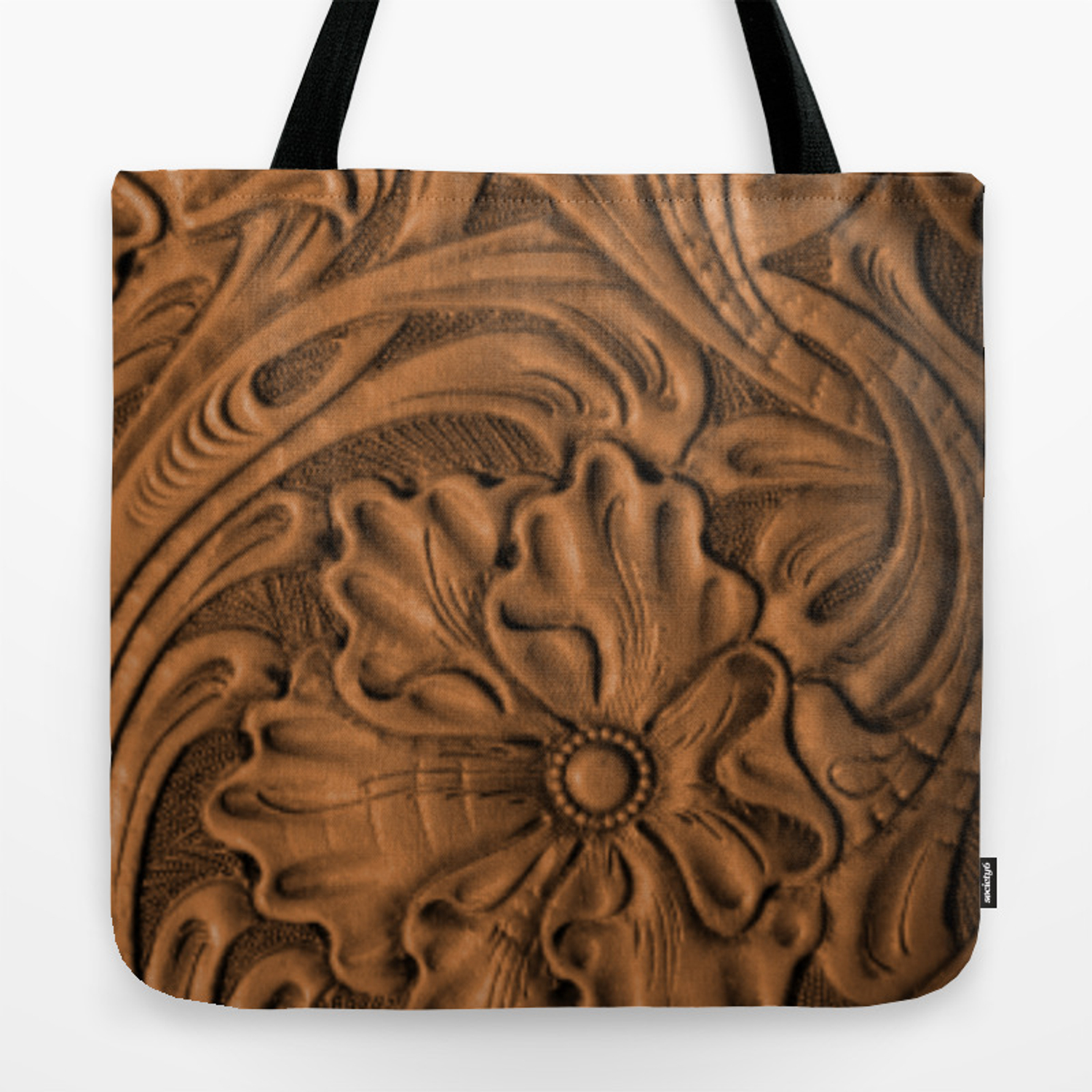 Golden Tanned Tooled Leather Tote Bag