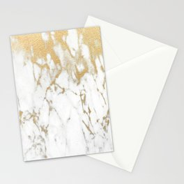 White Gold Marble Stationery Cards