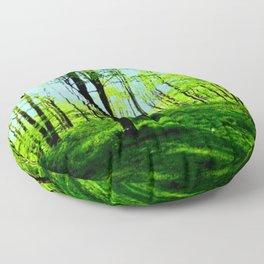 Sky Blue Morning Forest Floor Pillow