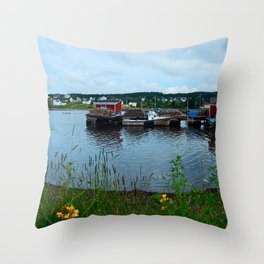 Fisherman's Wharf in Cape Breton Throw Pillow