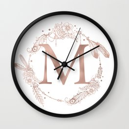 Letter M Rose Gold Pink Initial Monogram Wall Clock