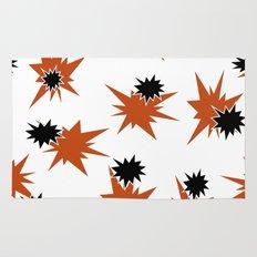 Stars (Orange & Black on White) Rug