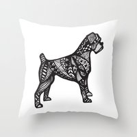 boxer Throw Pillows featuring Boxer by creative.court