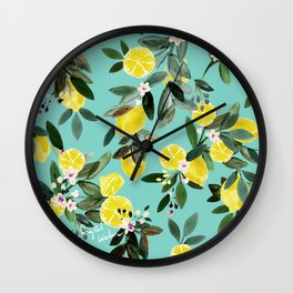 Summer Lemon Floral Wall Clock