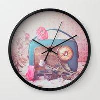 radio Wall Clocks featuring Vintage Radio. by Julia Dávila-Lampe