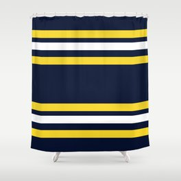 Navy and Yellow Sport Stripes Shower Curtain