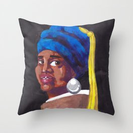 Girl with the pearl Throw Pillow