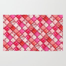 Faux Patchwork Quilting - Pink and Red Rug
