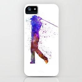 man golfer swing silhouette iPhone Case
