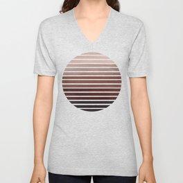 Raw Sienna Mid Century Modern Minimalist Scandinavian Colorful Stripes Geometric Pattern Round Circl Unisex V-Neck