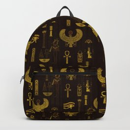 Horus Falcon  and Egyptian hieroglyphs pattern Backpack