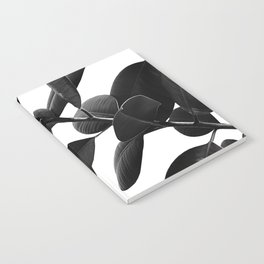 Ficus Elastica Black & White Vibes #1 #foliage #decor #art #society6 Notebook