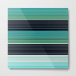 Solid Aqua Teal Black Stripes Metal Print