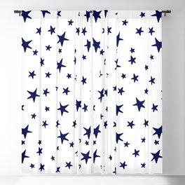 Stars - Navy Blue on White Blackout Curtain