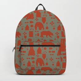 Tribal Bear orange Backpack