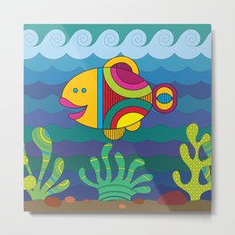 Stylize fantasy fish under water Metal Print