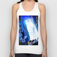 skiing Tank Tops featuring Cross Country Skiing by Robin Curtiss