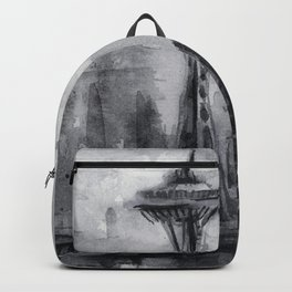Seattle Skyline Painting Watercolor Black and White Space Needle Backpack