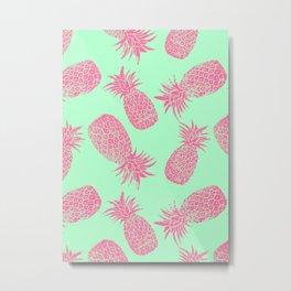 Pineapple Pattern - Mint & Crimson Metal Print