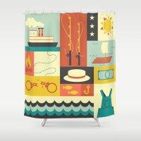 finn Shower Curtains featuring Huckleberry Finn by Ariel Wilson