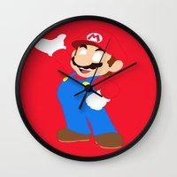 super mario Wall Clocks featuring Super Mario by Valiant