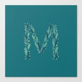 Turquoise flowers alphabet M Canvas Print