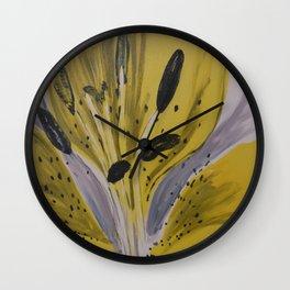 Yellow Tiger Lily Wall Clock