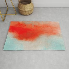Abstract Watercolor Minimalist Rust Series - Untitled III orange turquoise marble Rug