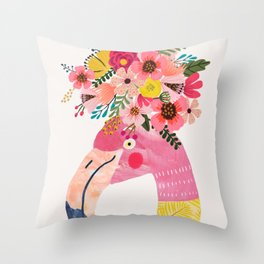 Pink flamingo with flowers on head Throw Pillow
