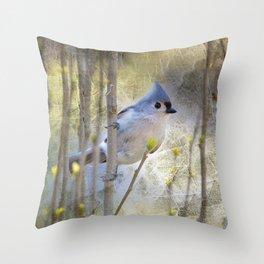 Titmouse in Bush Throw Pillow