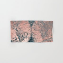 Vintage World Map Rose Gold and Storm Gray Navy Hand & Bath Towel