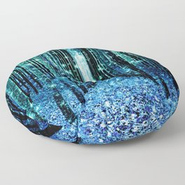 Magical Forest Teal Turquoise Floor Pillow