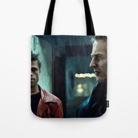 brad pitt Tote Bags featuring Edward Norton and Brad Pitt by Gabriel T Toro