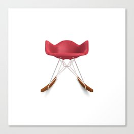 Eames® Molded Plastic Rocker with Wood Base - Red Canvas Print
