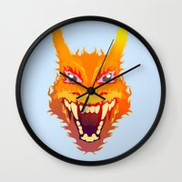 charizard Wall Clocks featuring Flaming Dragon by Head Glitch