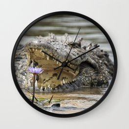 Crocodile and Water Lily, No. 2 Wall Clock