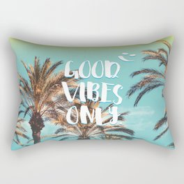 """Good Vibes Only."" - Quote - Tropical Paradise Palm Trees Rectangular Pillow"