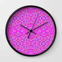 candy Wall Clocks featuring Candy Colored Pixels by 2sweet4words Designs