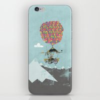 brompton iPhone & iPod Skins featuring Riding A Bicycle Through The Mountains by Wyatt Design