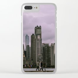 Purple Chicago Evening Clear iPhone Case