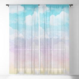 Little Fluffy Clouds Pastel Sky Sheer Curtain