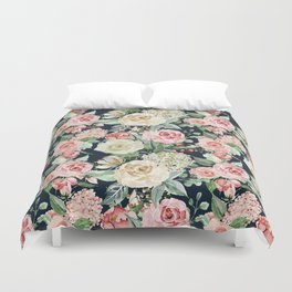 Country chic navy blue pink ivory watercolor floral Duvet Cover
